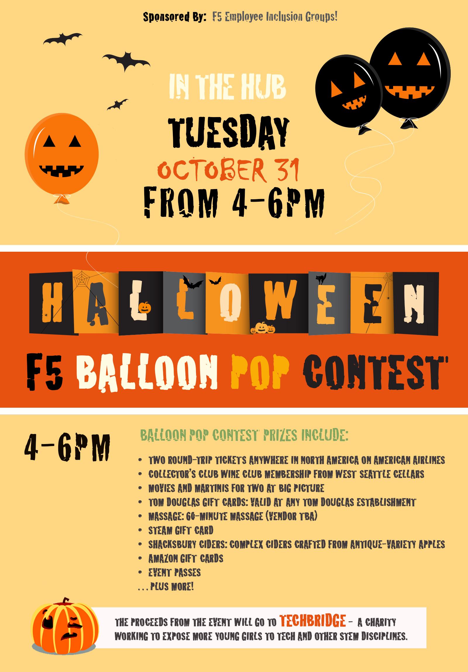 Halloween balloon pop poster.