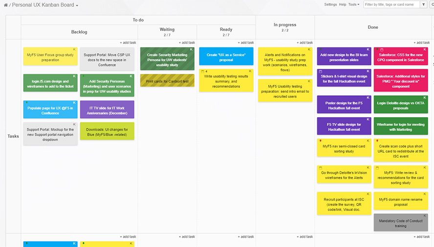 Digital version of the personal Kanban board.